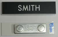 NAME BADGE BLACK ON WHITE - MAGNETIC FITTING